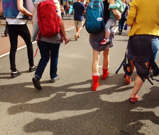 Protesters walking in unison #marchinmarch