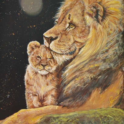 Acrylic Lion and Cub Painting